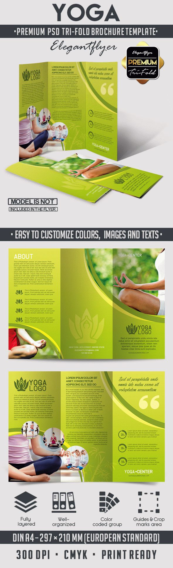 Yoga tri fold brochure psd template by elegantflyer for Templates for tri fold brochures