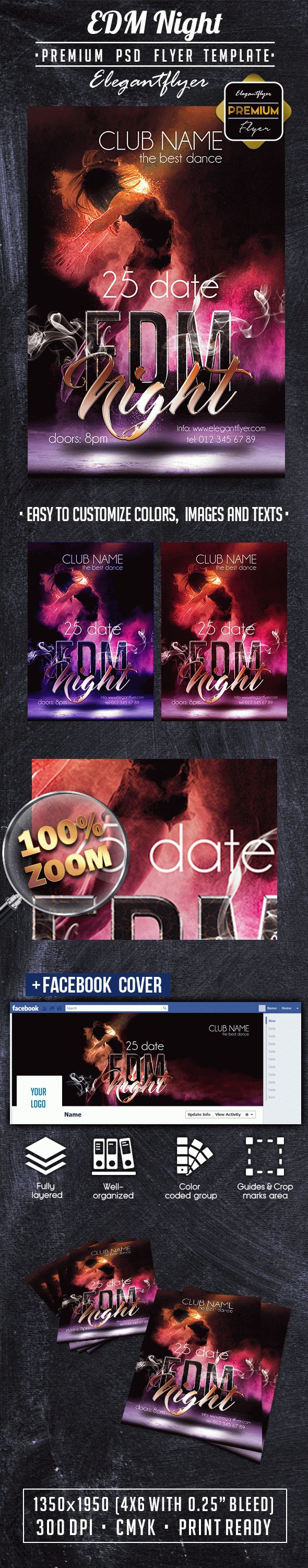 EDM Night PREMIUM Flyer PSD Template + Facebook Cover