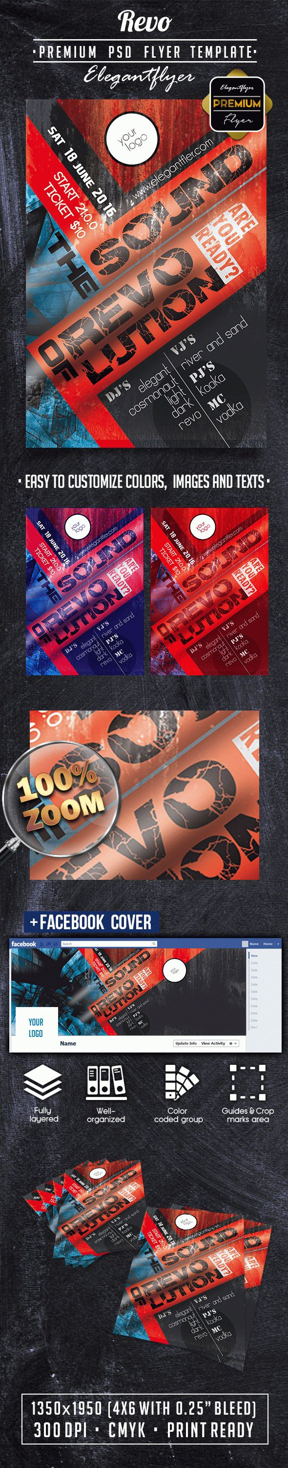 Revo PREMIUM Flyer PSD Template + Facebook Cover