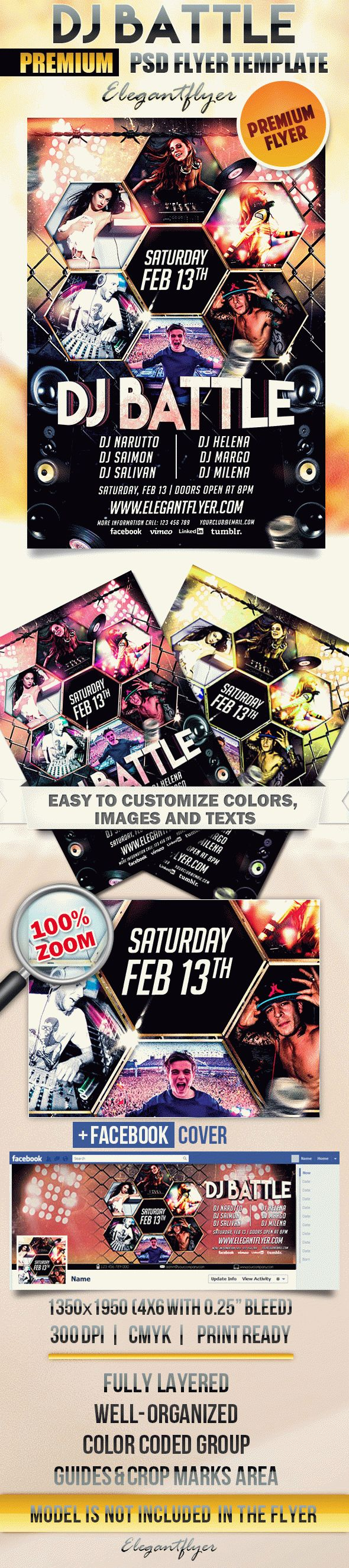 Dj Battle – Flyer PSD Template + Facebook Cover