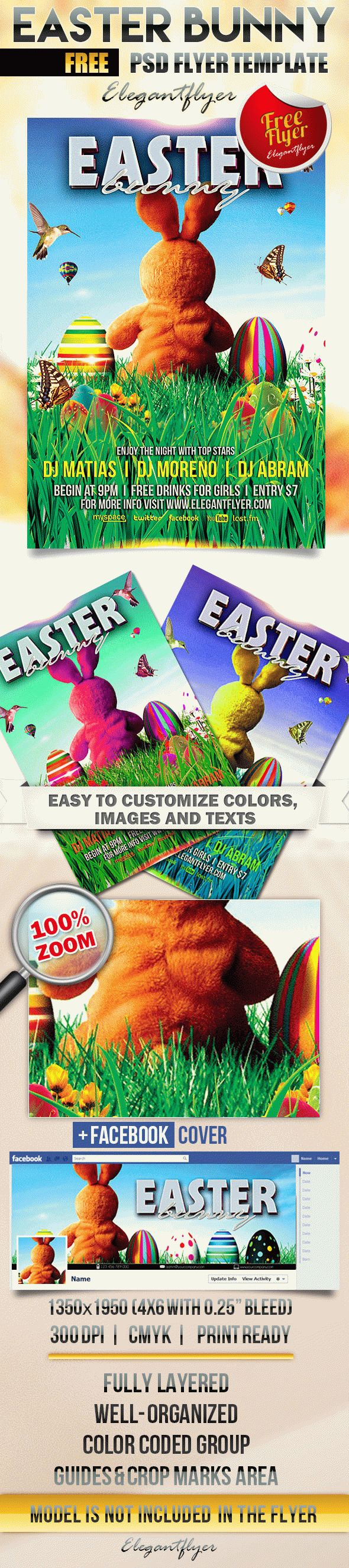 Easter Bunny – Free Flyer PSD Template + Facebook Cover