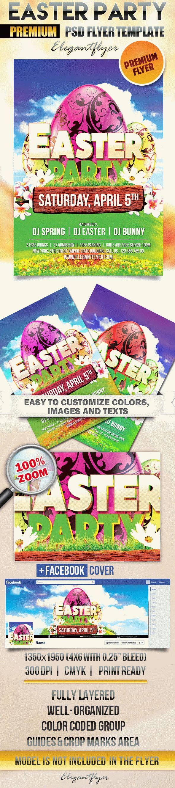Easter Party – Flyer PSD Template + Facebook Cover