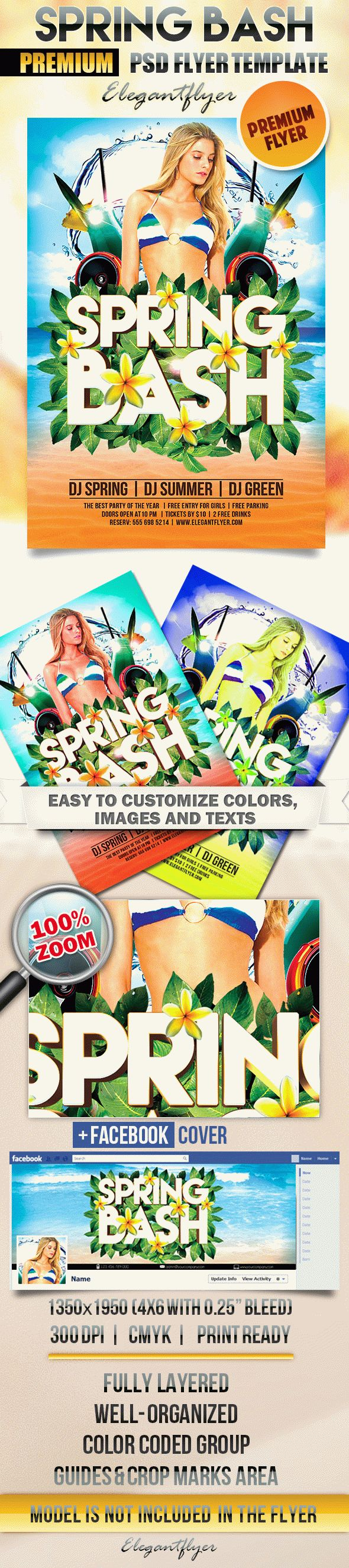 Spring Bash – Flyer PSD Template + Facebook Cover