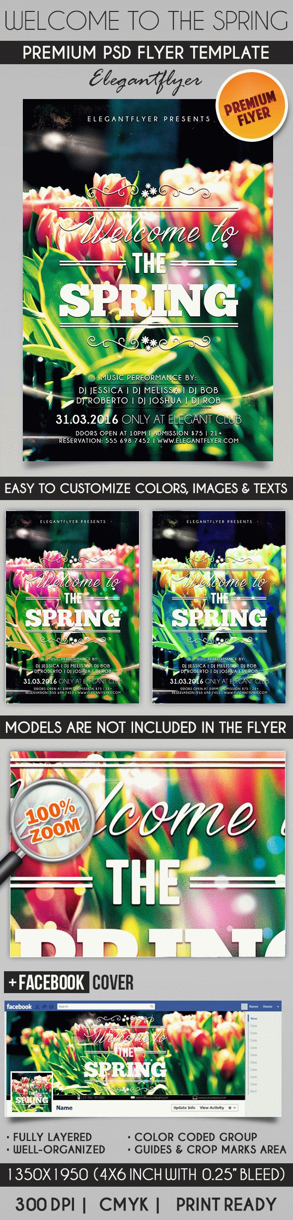 Welcome to the Spring – Flyer PSD Template + Facebook Cover