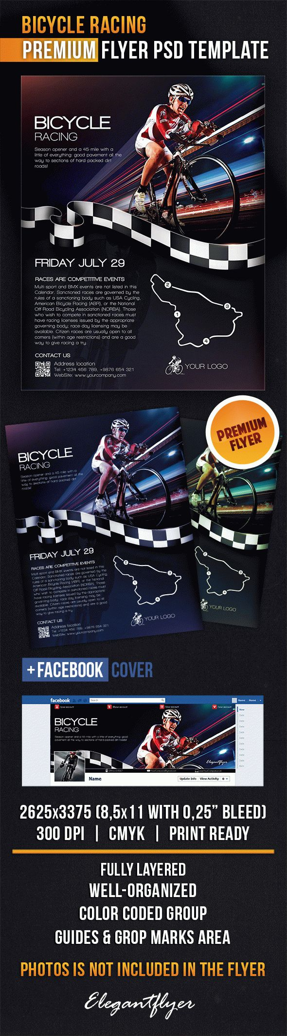 Bicycle Racing – Flyer PSD Template + Facebook Cover