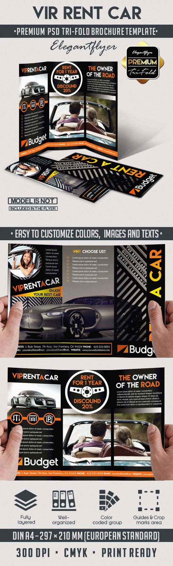 Car Rent – Tri-Fold PSD Brochure Template