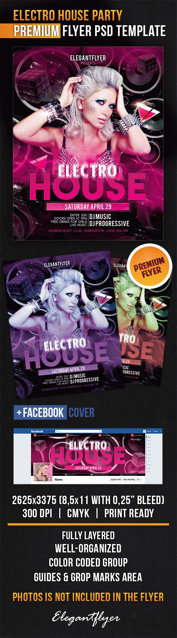 Electro House Party – Flyer PSD Template + Facebook Cover