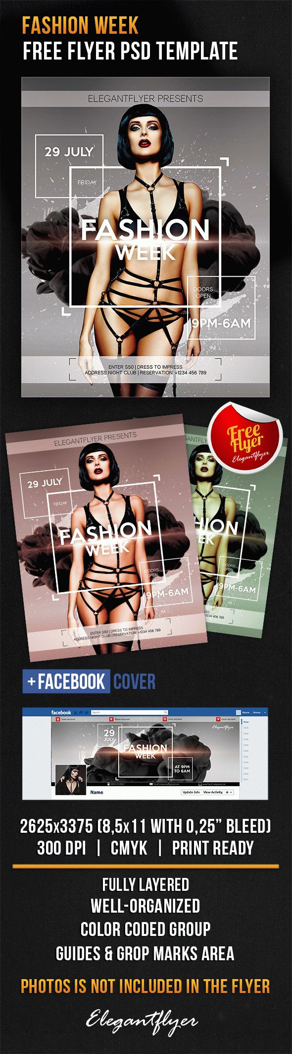 Fashion Week – Free Flyer PSD Template + Facebook Cover
