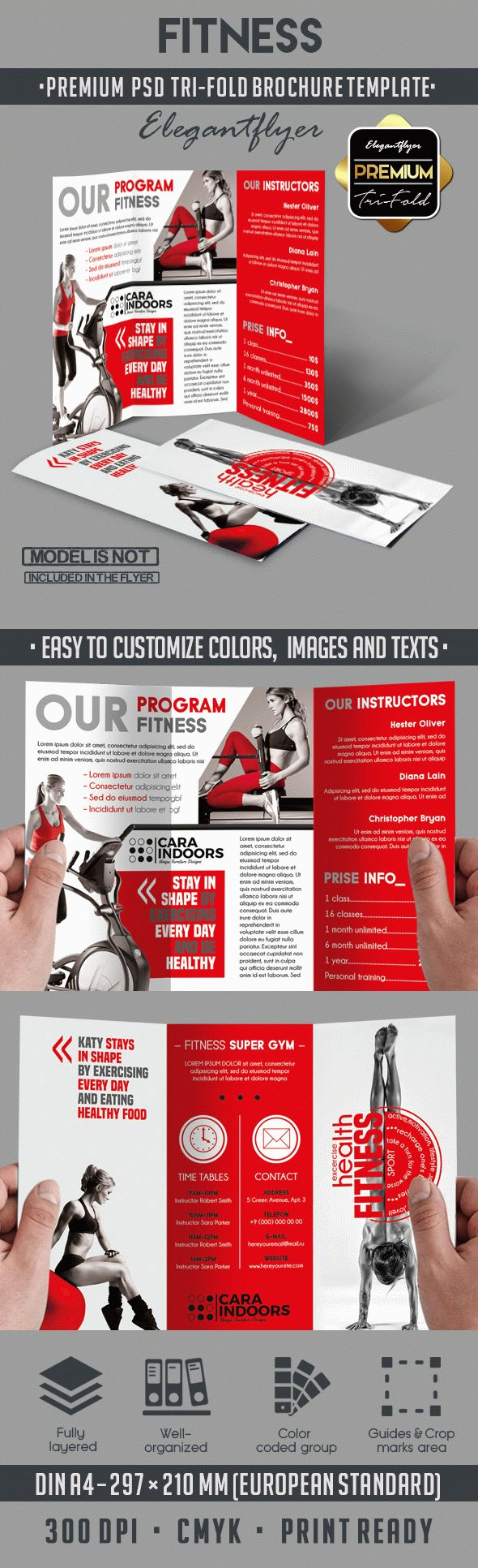 Tri fold brochure template for fitness by elegantflyer for Fitness brochure template