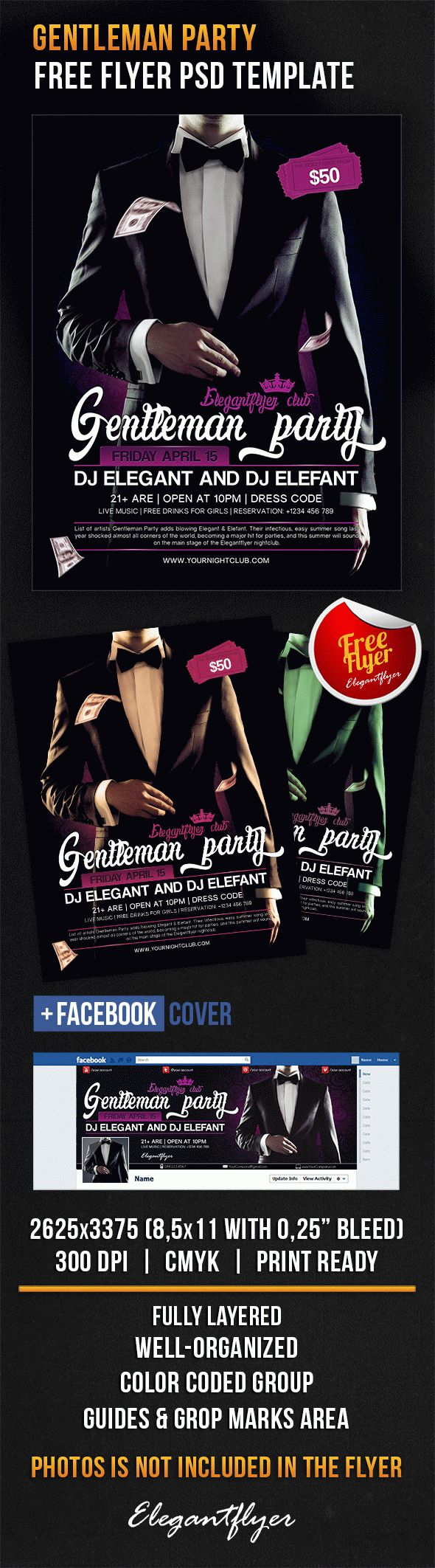 Gentleman Party – Free Flyer PSD Template + Facebook Cover