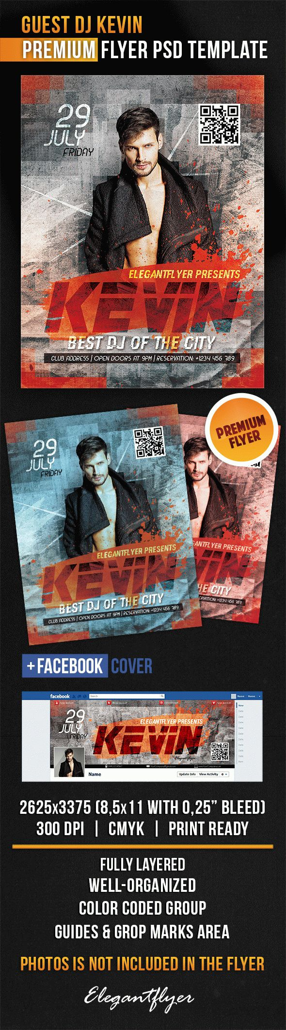 Guest Dj Kevin – Flyer PSD Template + Facebook Cover