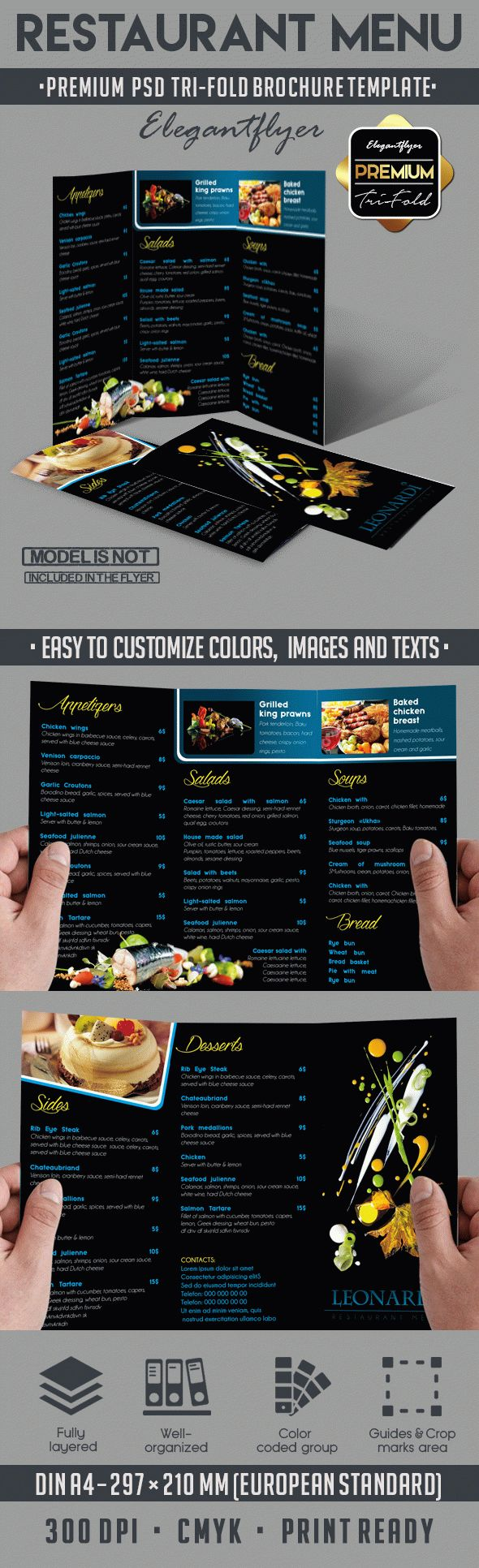 Restaurant Menu – Tri-Fold Brochure PSD Template