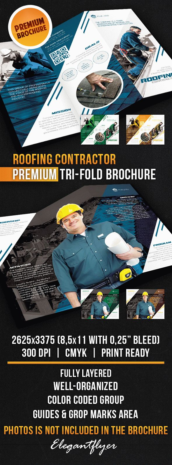 Roofing Contractor – Tri-Fold Brochure PSD Template