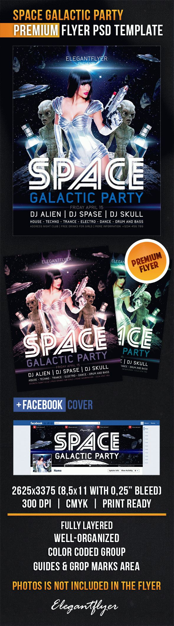 Space Galactic Party – Flyer PSD Template