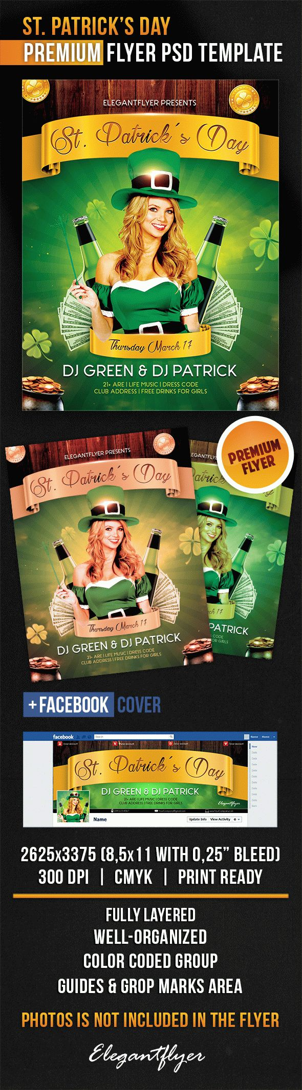 St. Patrick's Day – Flyer PSD Template + Facebook Cover