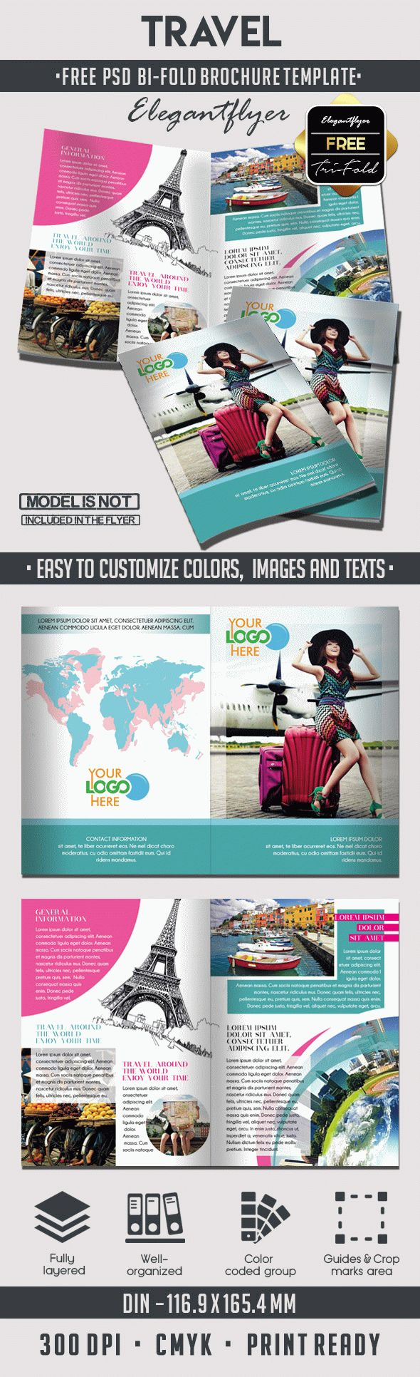 Travel free bi fold psd brochure template by elegantflyer for Travel and tourism brochure templates free
