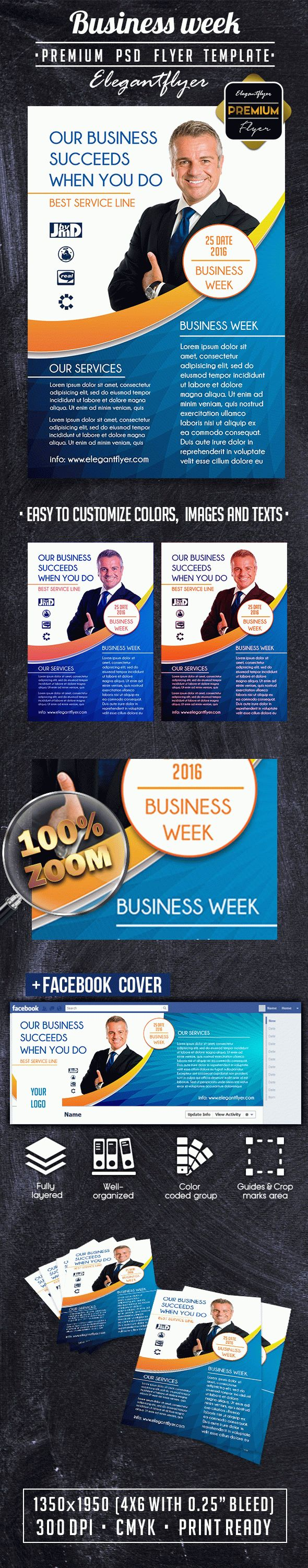 Business week PREMIUM Flyer PSD Template + Facebook Cover