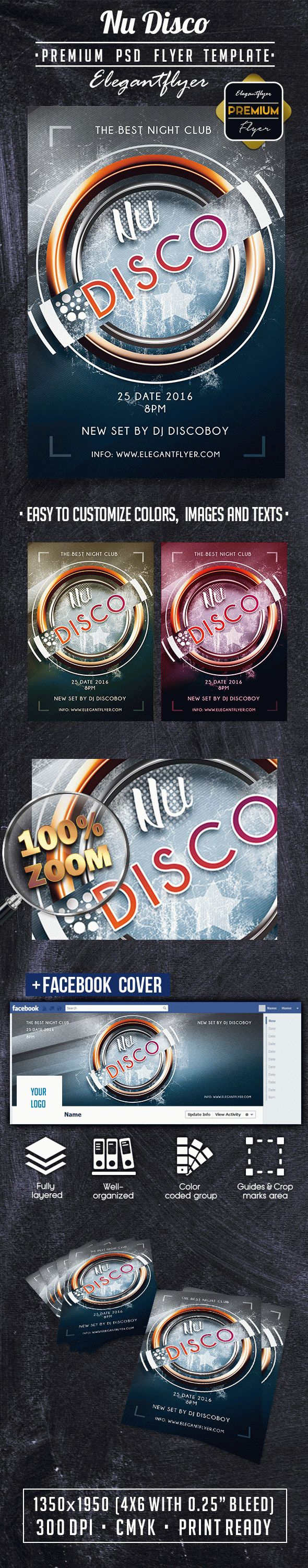 Nu Disco PREMIUM Flyer PSD Template + Facebook Cover