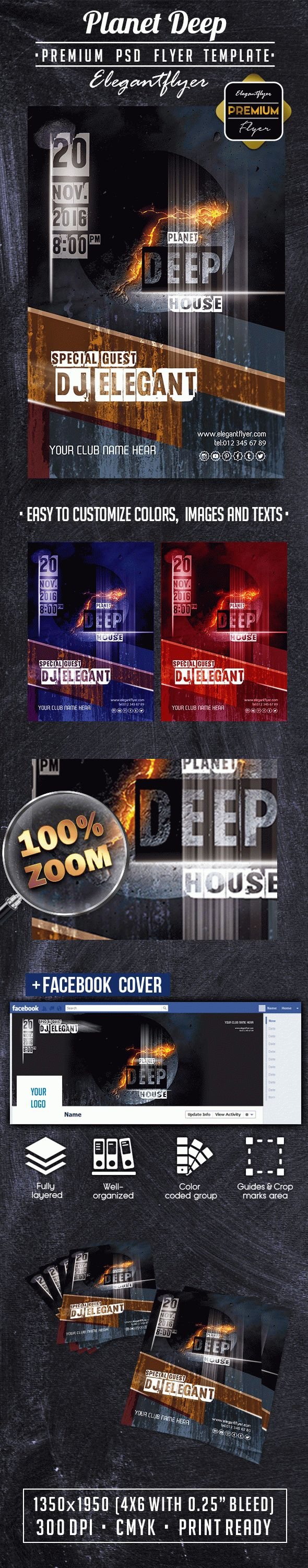 Planet DEEP Flyer PSD Template + Facebook Cover
