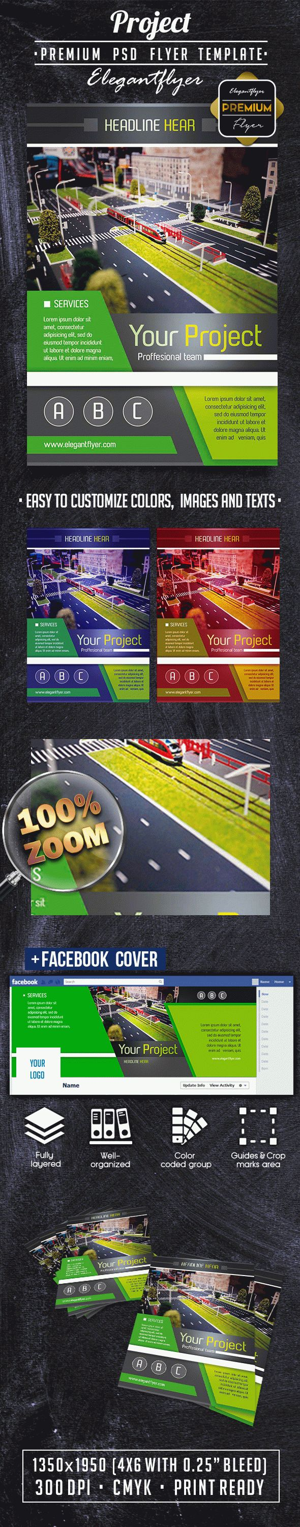 Project Flyer PSD Template + Facebook Cover