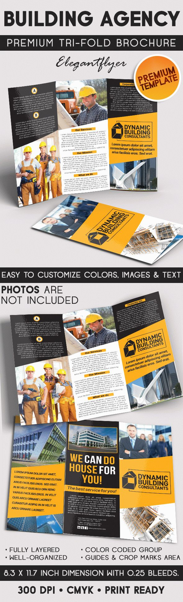 Building Agency – Tri-Fold Brochure PSD Template