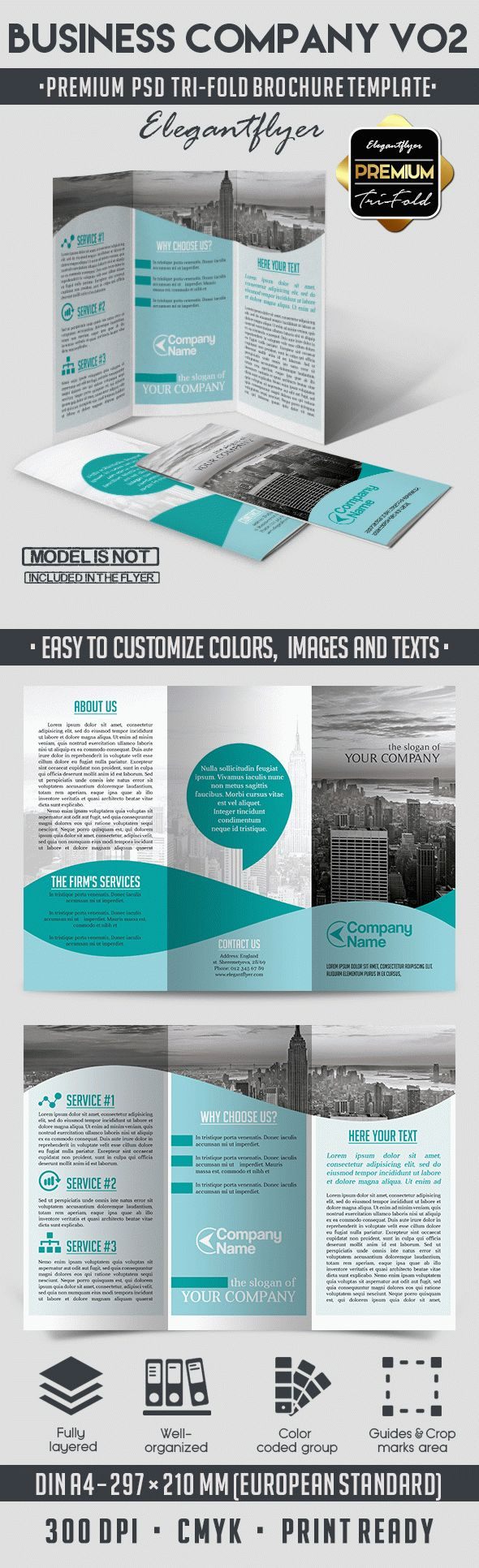 Business Company V02 – Tri-Fold Brochure PSD Template
