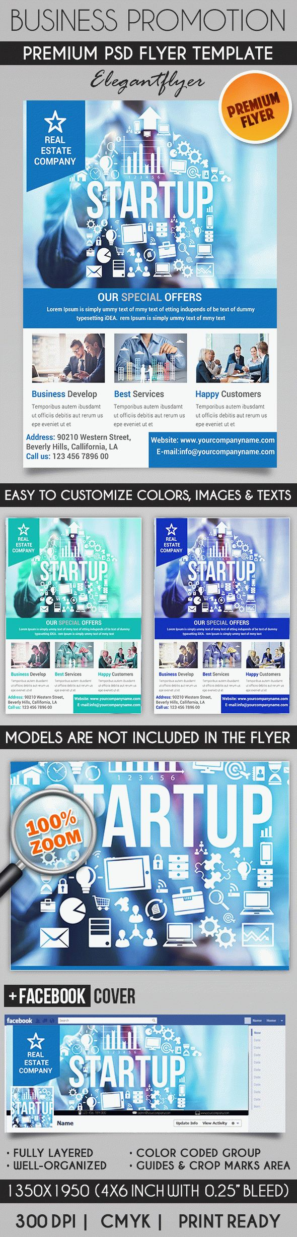 Business Promotion – Flyer PSD Template + Facebook Cover