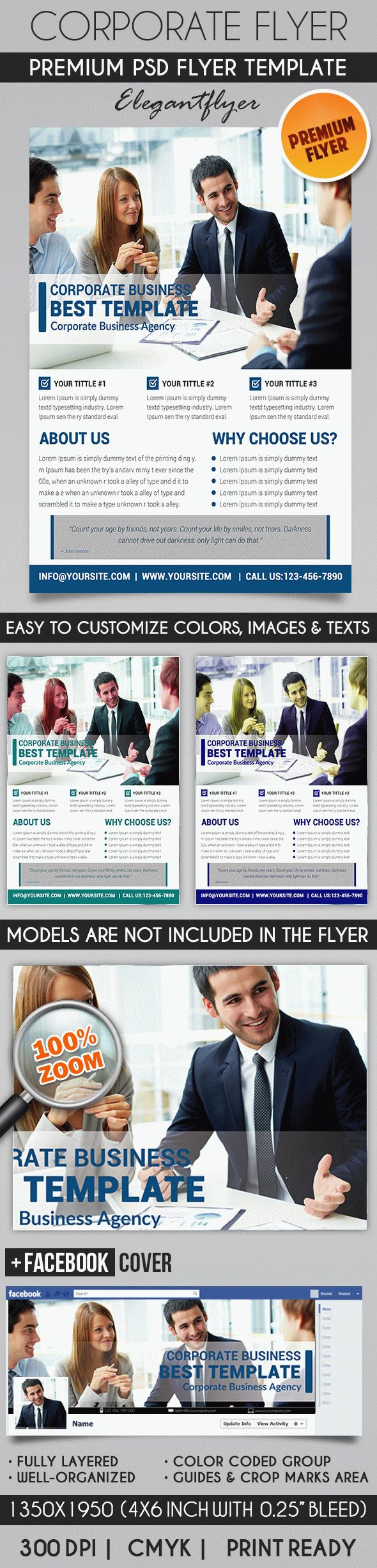 Corporate Business – Flyer PSD Template + Facebook Cover