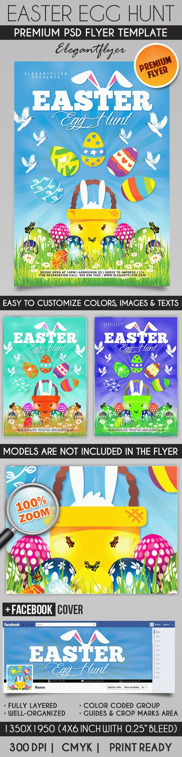 Easter Egg Hunt – Flyer PSD Template + Facebook Cover