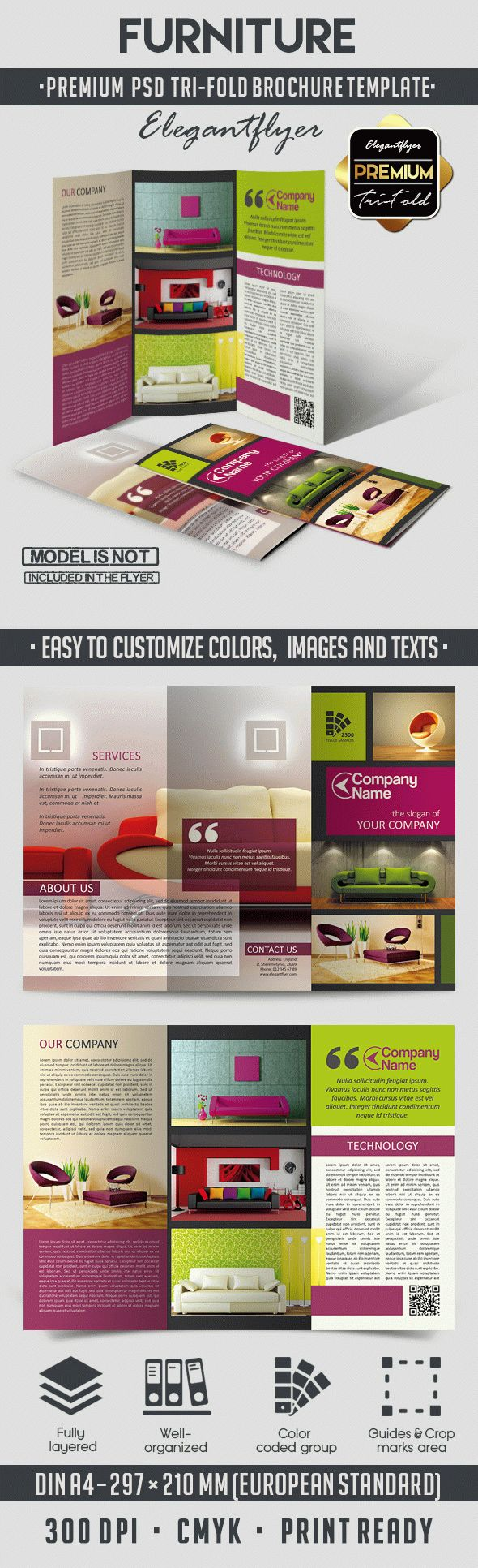 Furniture – Tri-Fold Brochure PSD Template