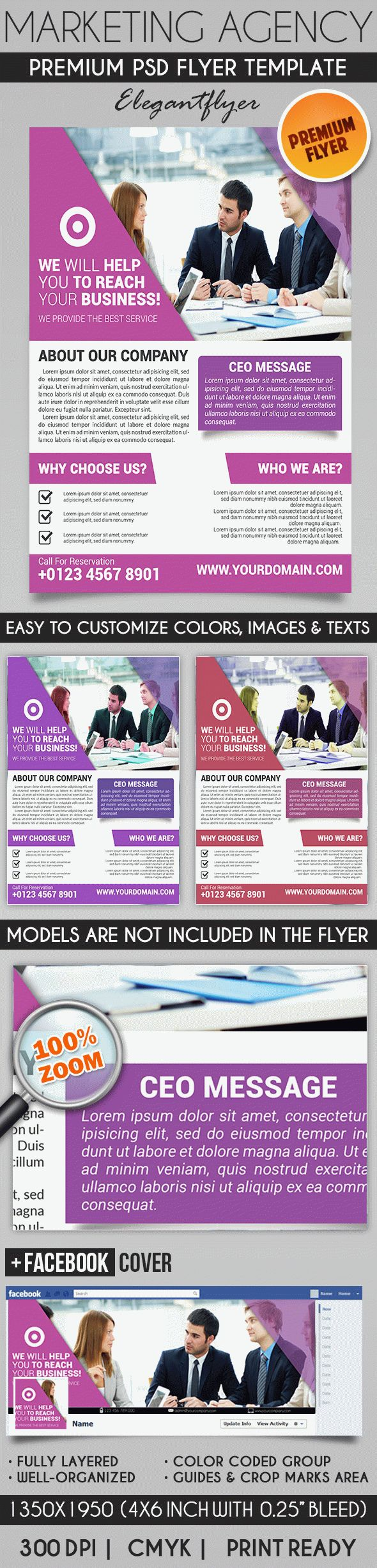 Marketing Agency – Flyer PSD Template + Facebook Cover