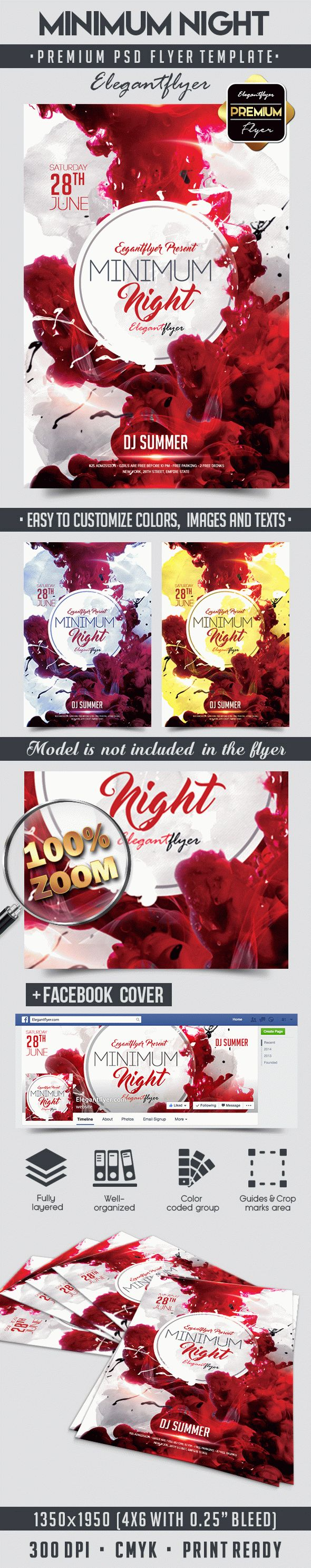 Minimum Night – Flyer PSD Template + Facebook Cover