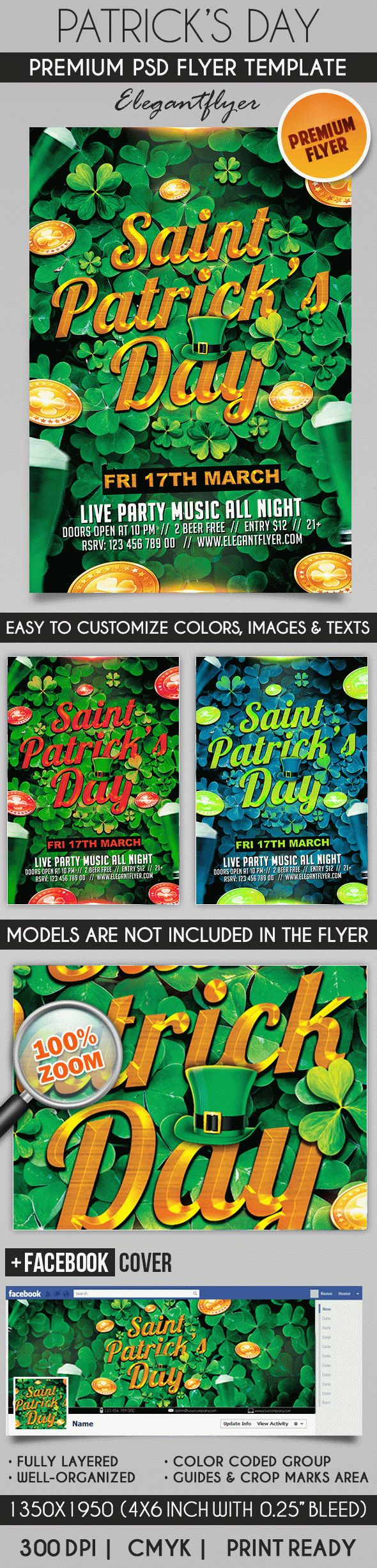 Patricks Day – Flyer PSD Template + Facebook Cover