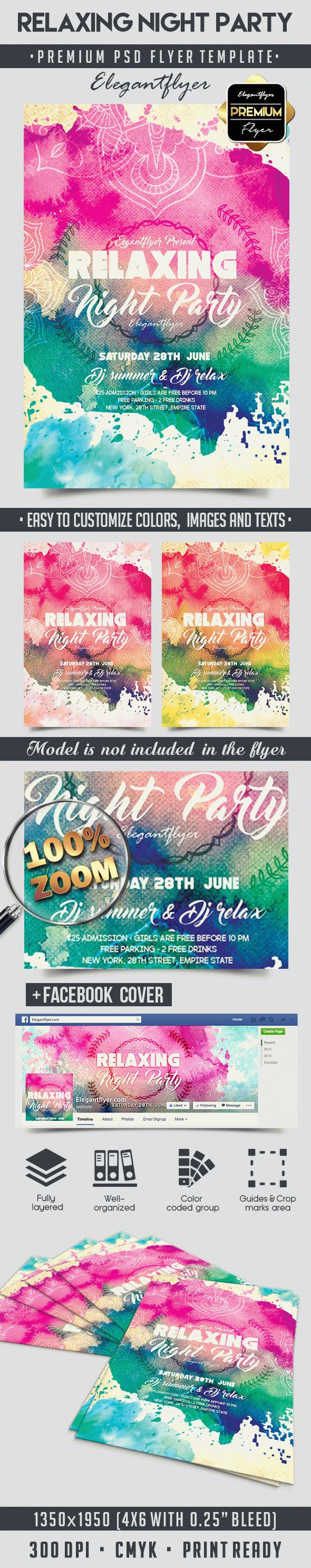 Relaxing Night Party – Flyer PSD Template + Facebook Cover