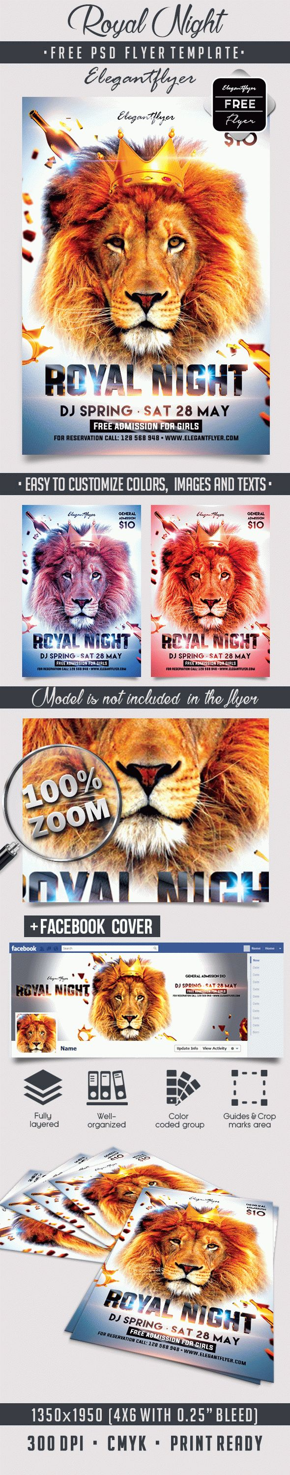 Royal Night – Free Flyer PSD Template + Facebook Cover