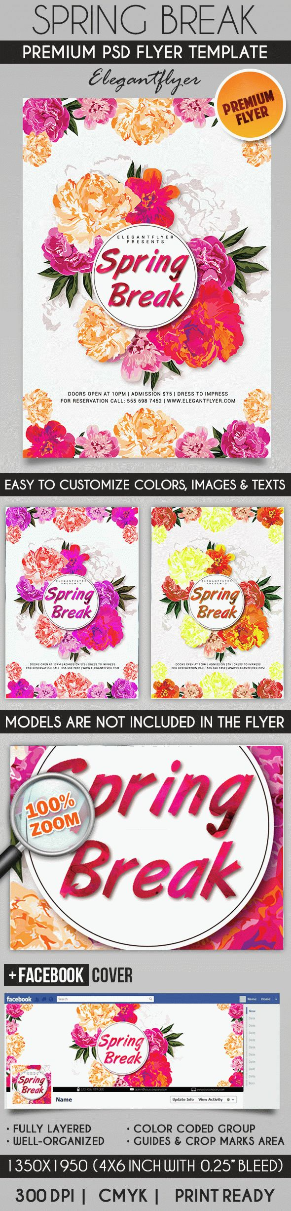 Spring Break Theme Party PSD Template