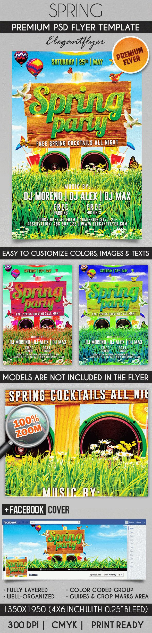 Spring – Flyer PSD Template + Facebook Cover