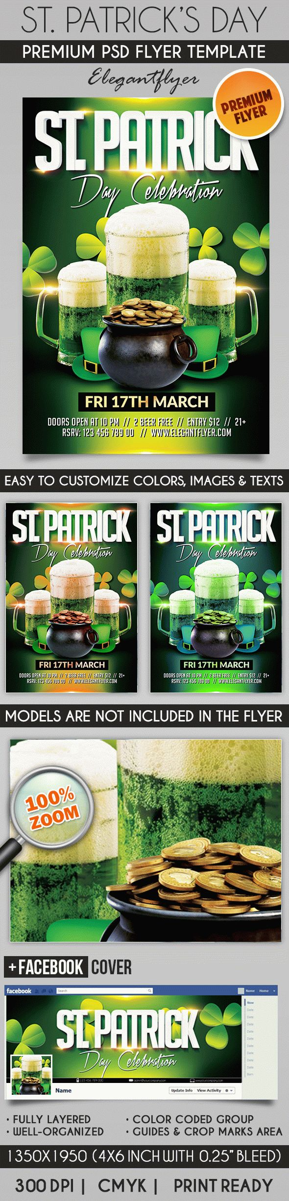 St. Patricks Day – Flyer PSD Template + Facebook Cover