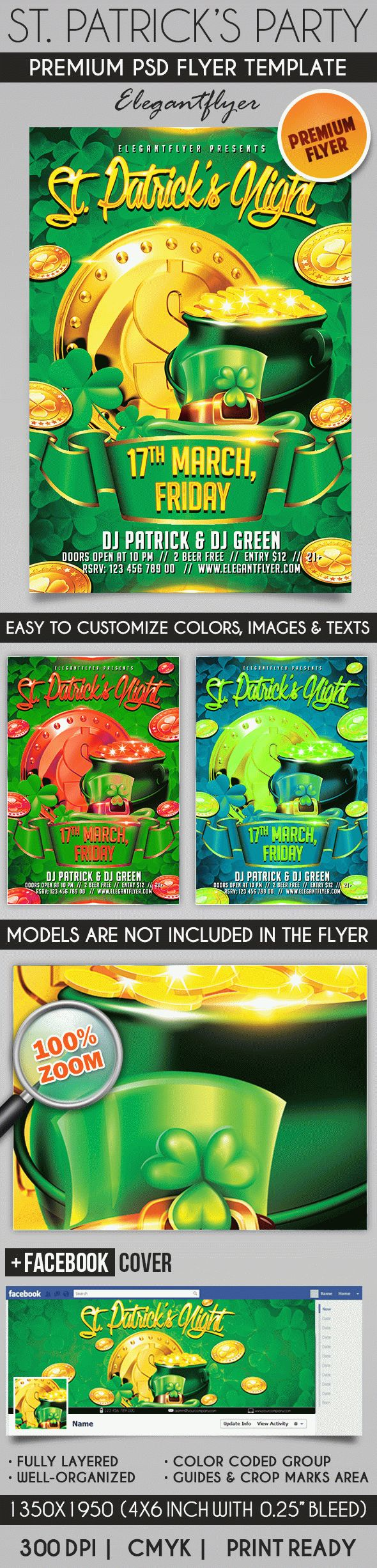 St. Patricks Party – Flyer PSD Template + Facebook Cover