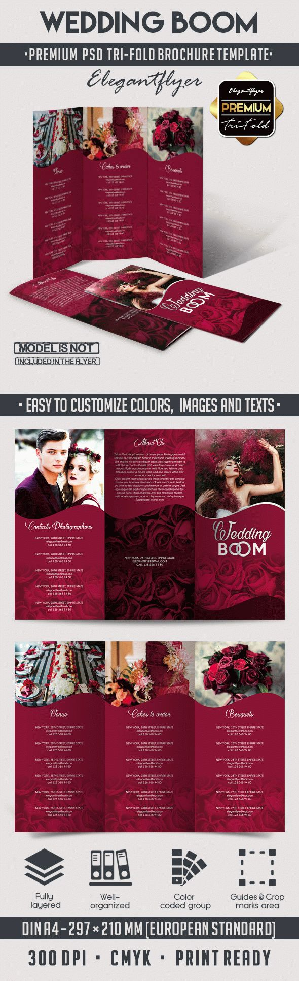 Wedding BOOM – Tri-Fold Brochure PSD Template