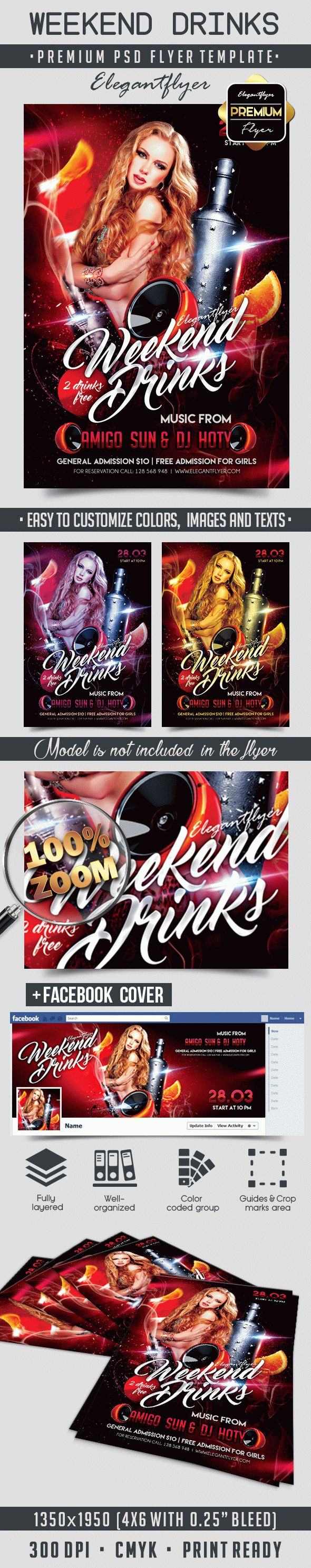 Weekend Drinks – Flyer PSD Template + Facebook Cover