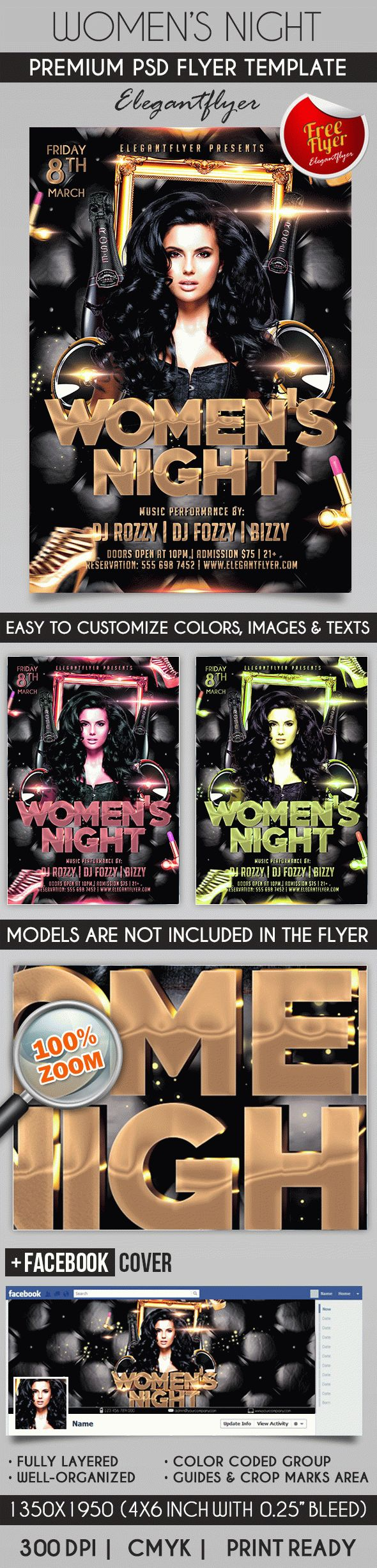 Women's Night – Free Flyer PSD Template + Facebook Cover