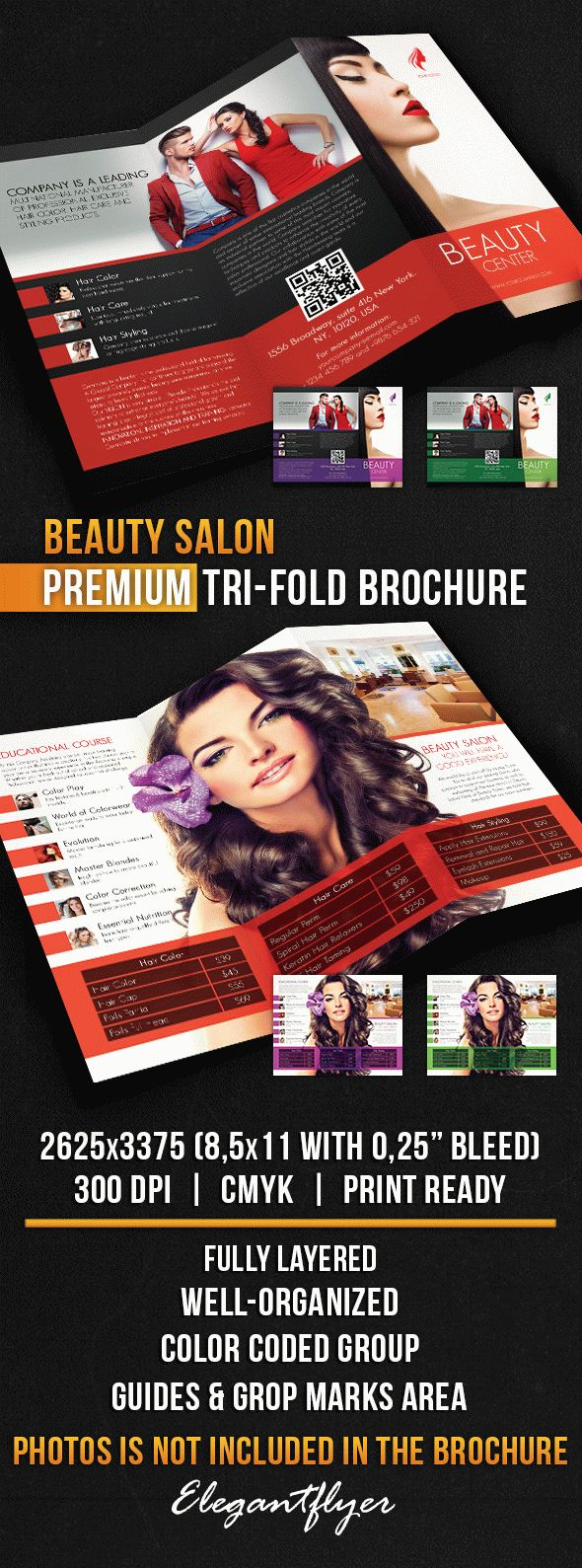 Beauty Salon Tri Fold Brochure PSD Template
