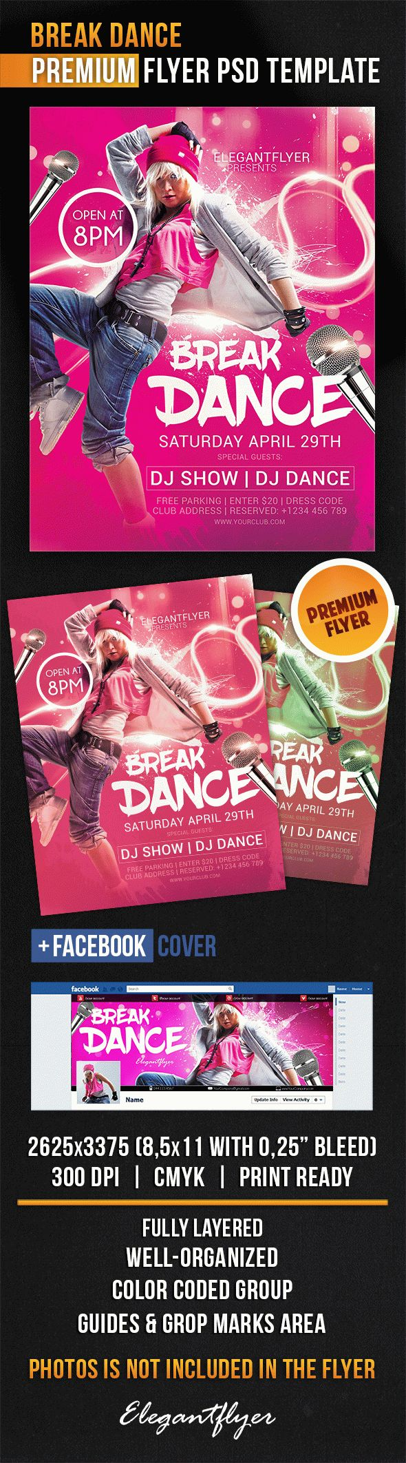 Break Dance – Flyer PSD Template + Facebook Cover