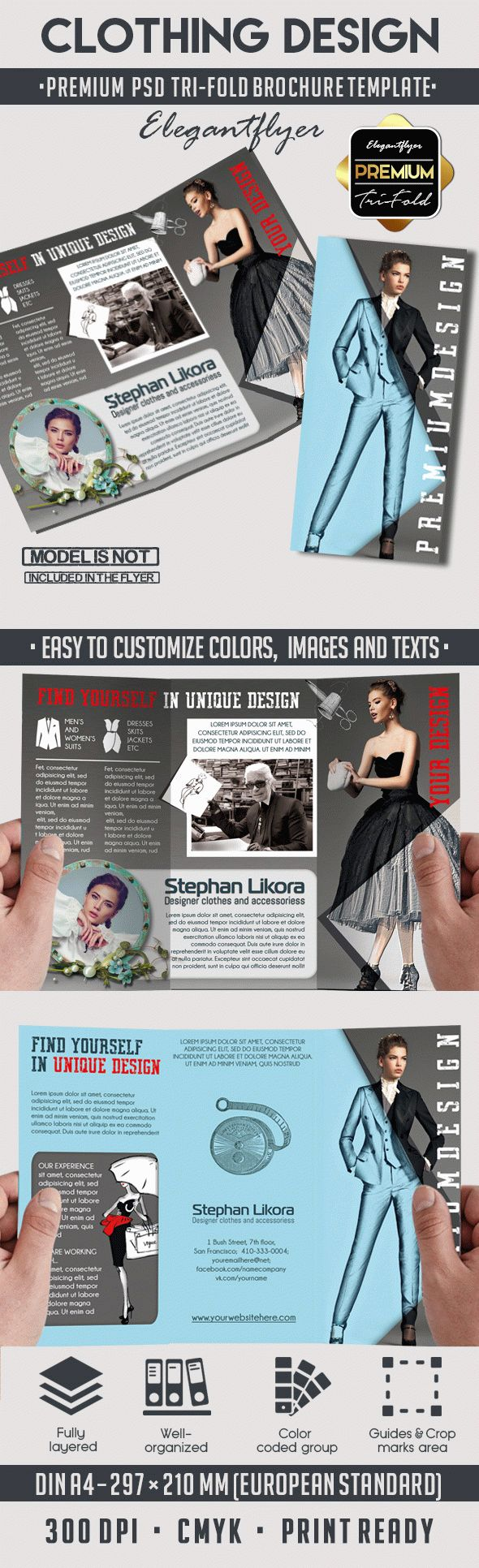 Clothing Design – Tri-Fold PSD Brochure Template