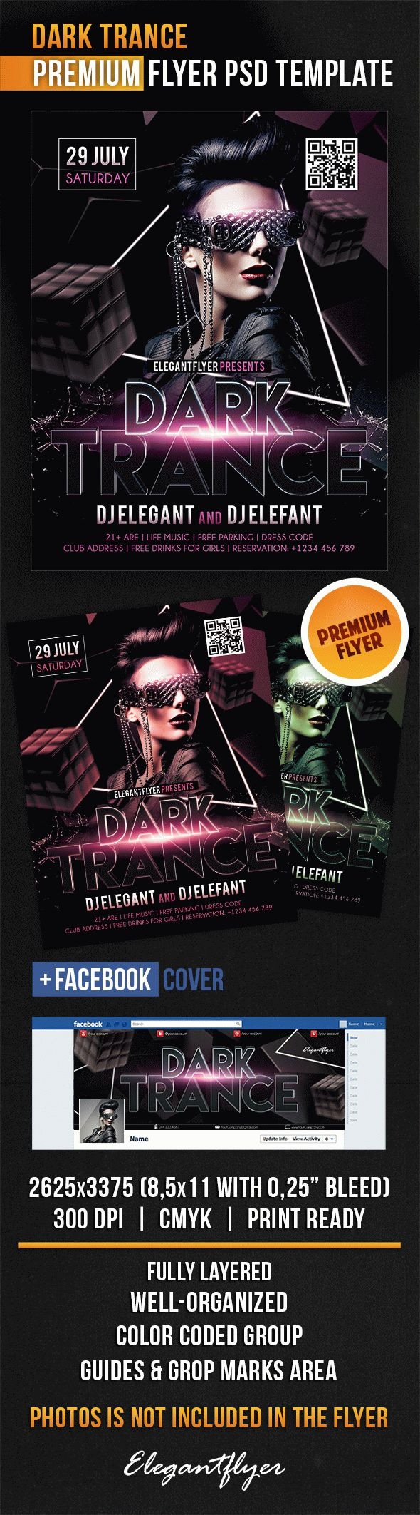 Dark Trance – Flyer PSD Template + Facebook Cover