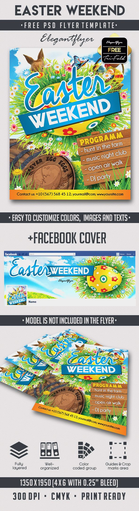 Easter Weekend – Free Flyer PSD Template + Facebook Cover