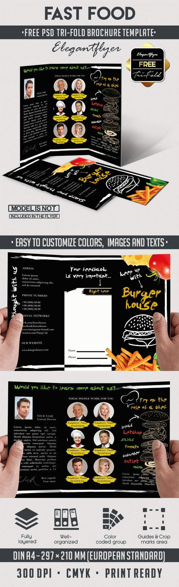 Fast Food Free TriFold Brochure PSD Template By ElegantFlyer - Brochure photoshop template