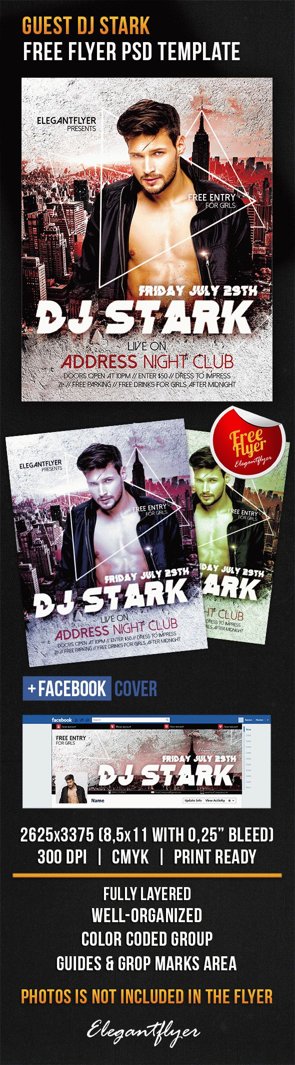 Guest Dj Stark – Free Flyer PSD Template + Facebook Cover