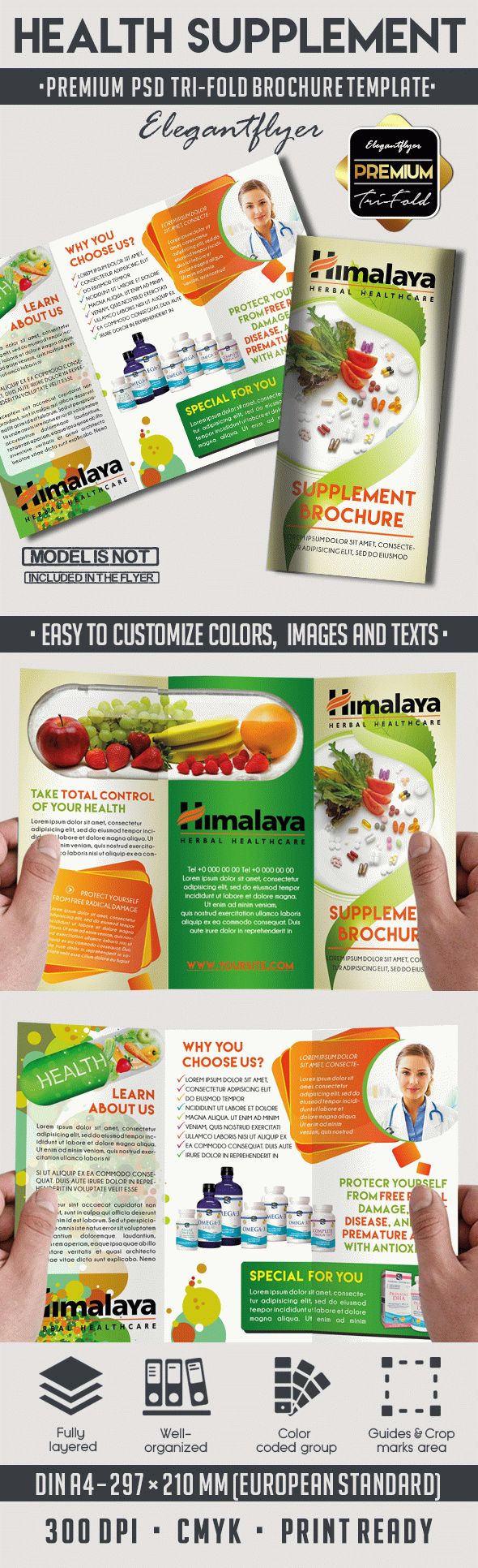 Health Supplement Premium TriFold PSD Brochure Template by – Health Brochure Template
